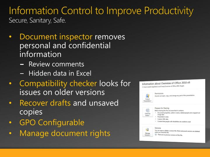 Information Control to Improve Productivity