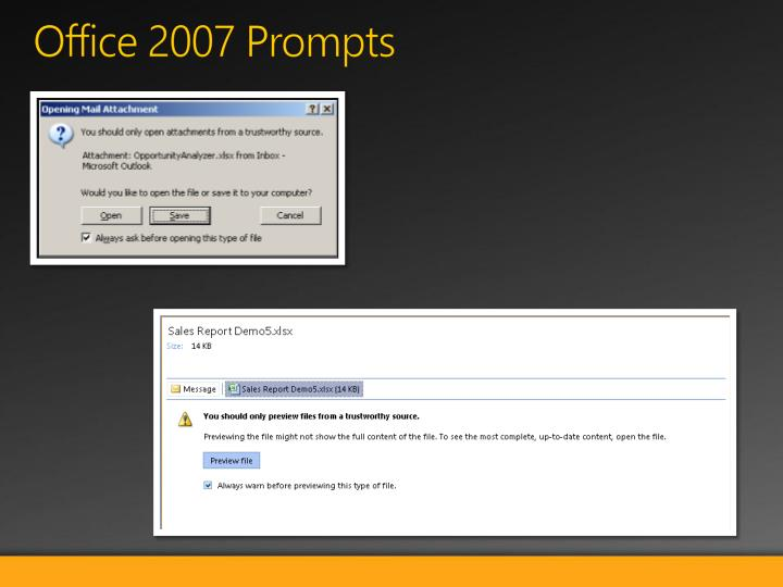 Office 2007 Prompts
