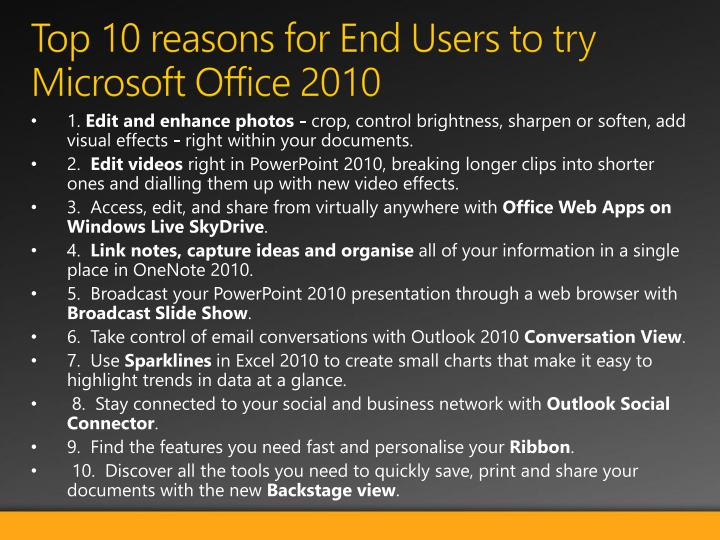 Top 10 reasons for end users to try microsoft office 2010