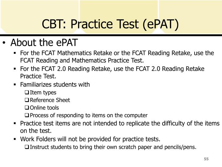 CBT: Practice Test (ePAT)
