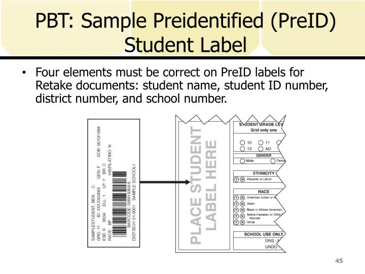 PBT: Sample Preidentified (PreID) Student Label