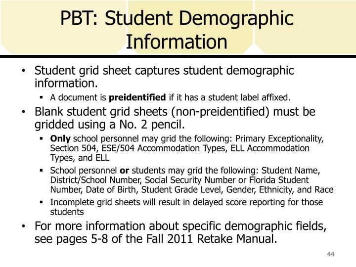 PBT: Student Demographic Information