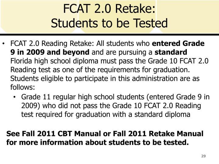 FCAT 2.0 Retake: