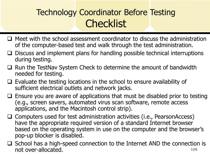 Technology Coordinator Before Testing