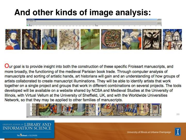 And other kinds of image analysis: