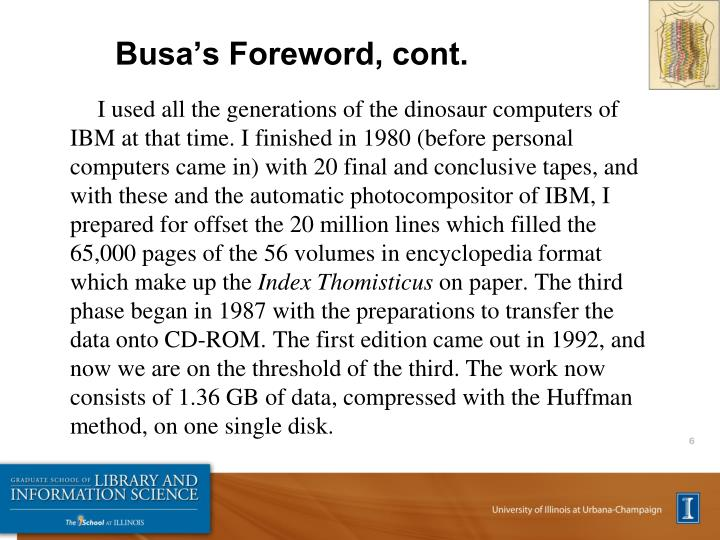 Busa's Foreword, cont.