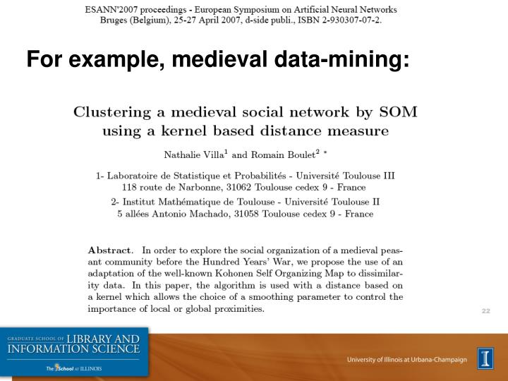 For example, medieval data-mining: