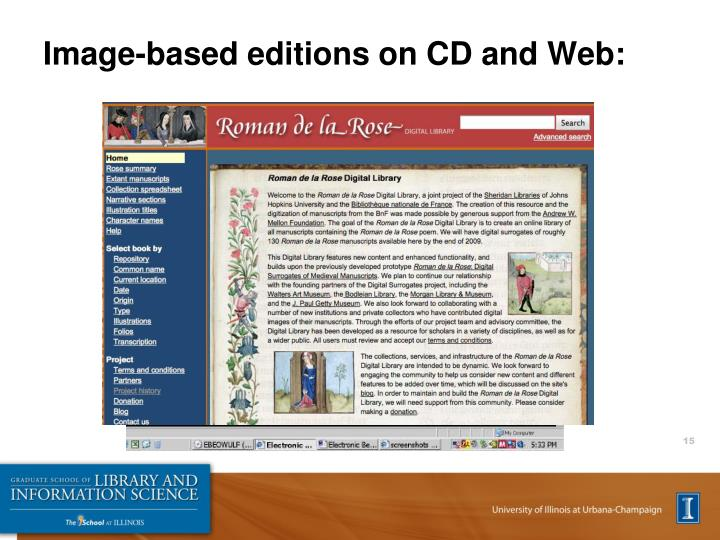Image-based editions on CD and Web: