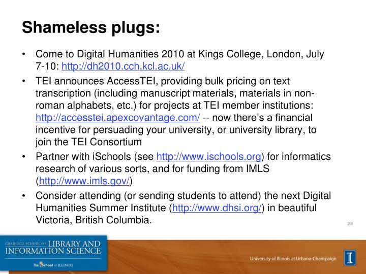 Shameless plugs: