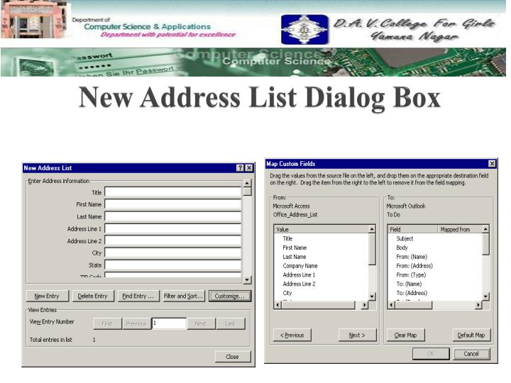 New Address List Dialog Box