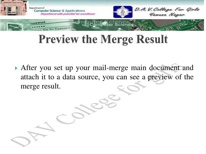 Preview the Merge Result