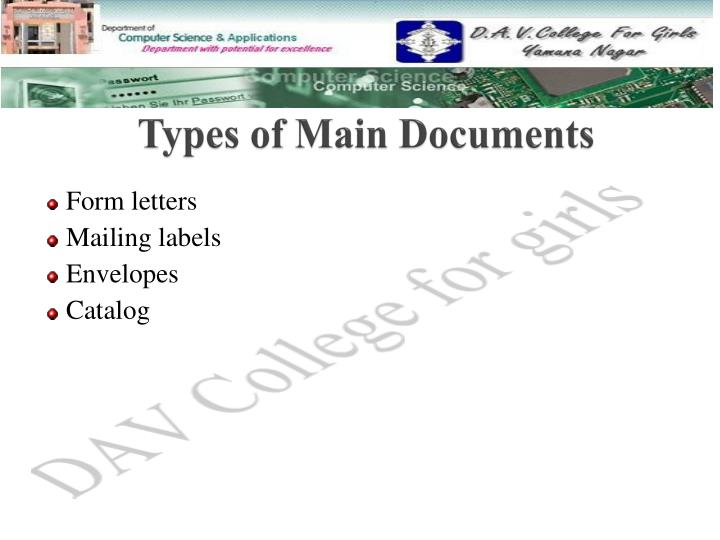 Types of main documents