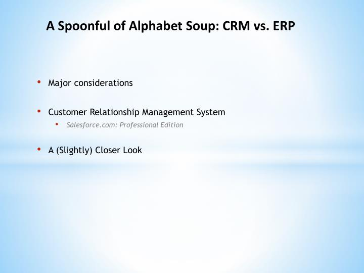 A Spoonful of Alphabet Soup: CRM vs. ERP