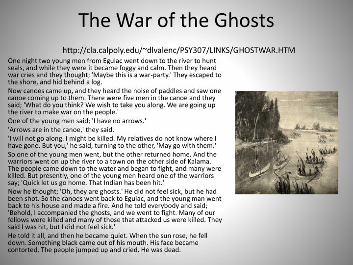 bartlett war of ghosts War of the ghosts one night two young men from egulac went down to the river to hunt seals and while they were there it became foggy and calm then they heard war.