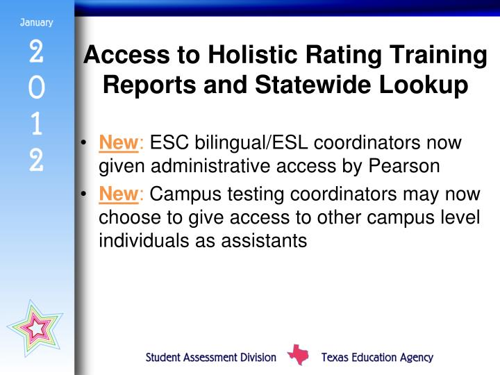Access to Holistic Rating Training