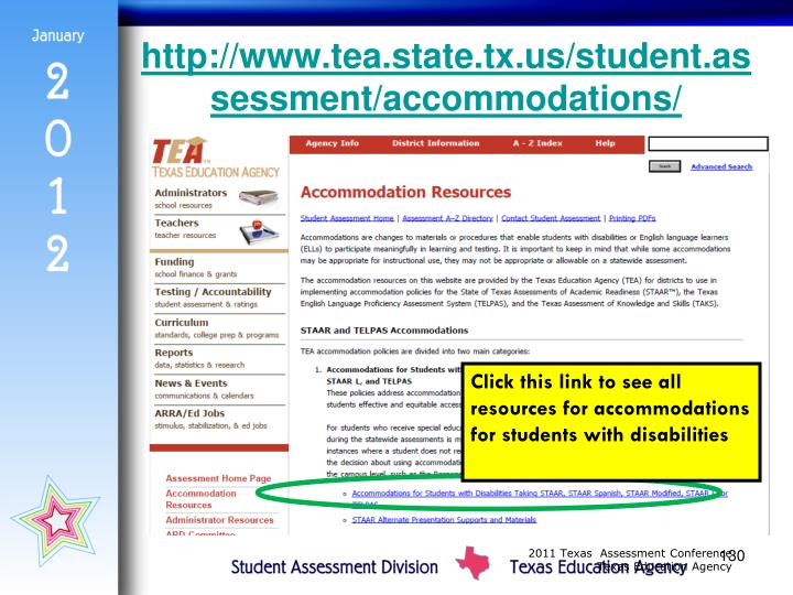 http://www.tea.state.tx.us/student.assessment/accommodations/