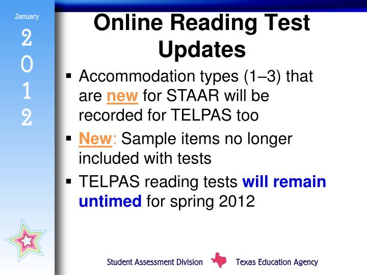 Online Reading Test Updates