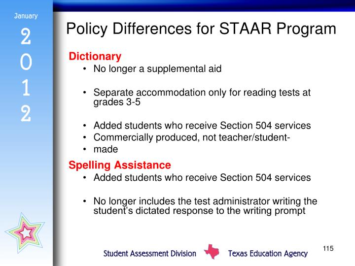 Policy Differences for STAAR Program