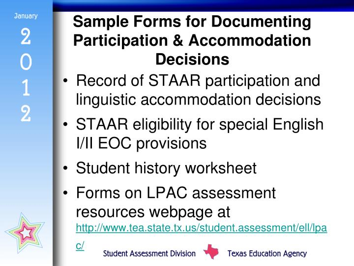 Sample Forms for Documenting Participation & Accommodation Decisions