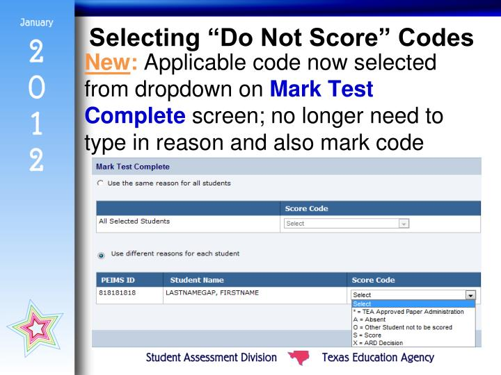 "Selecting ""Do Not Score"" Codes"
