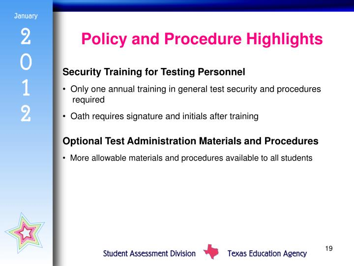 Policy and Procedure Highlights