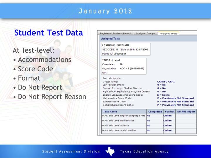 Student Test Data
