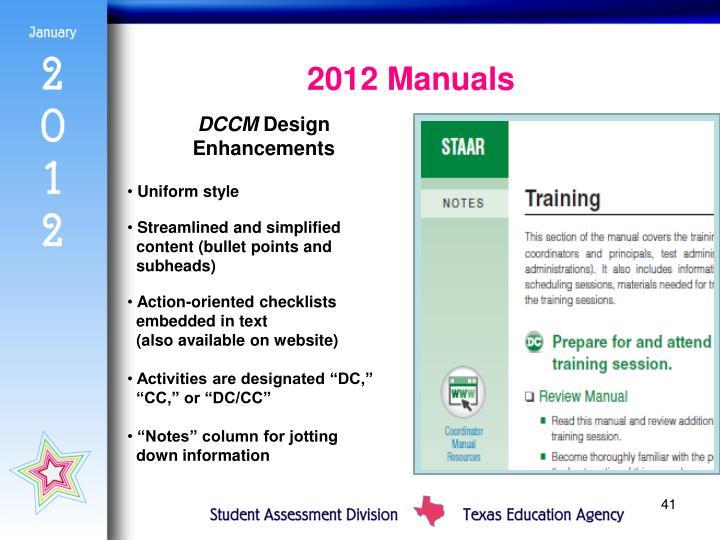 2012 Manuals