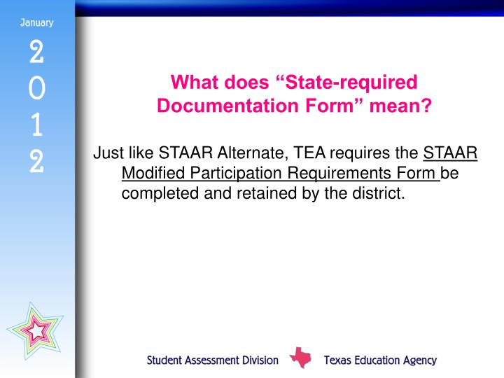 "What does ""State-required Documentation Form"" mean?"