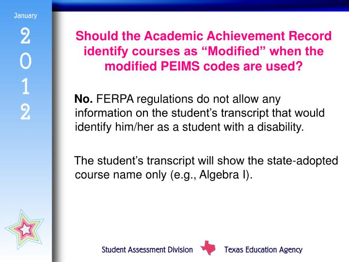 "Should the Academic Achievement Record identify courses as ""Modified"" when the modified PEIMS codes are used?"