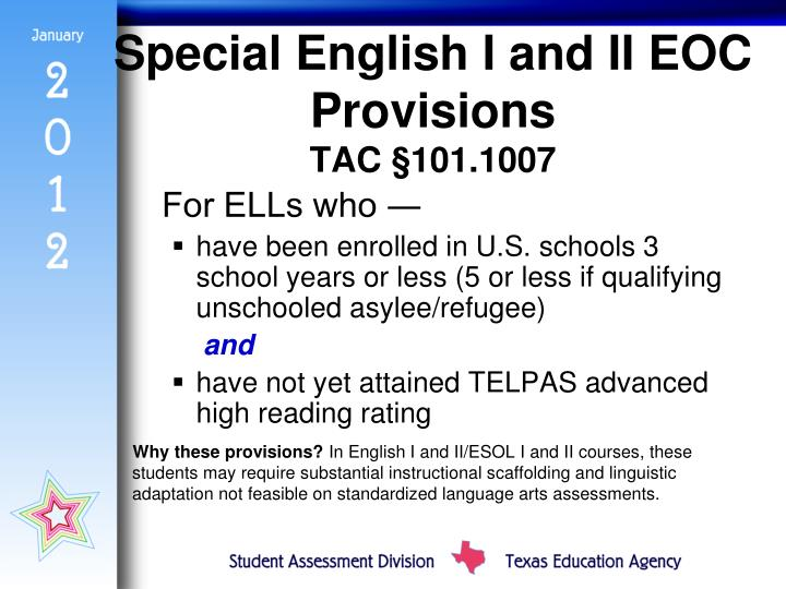 Special English I and II EOC Provisions