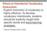 direct or intentional vocabulary instruction