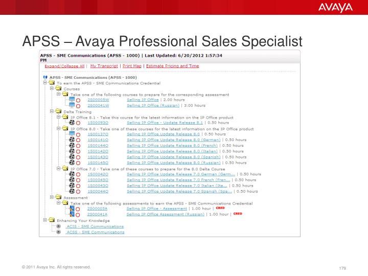 APSS – Avaya Professional Sales Specialist