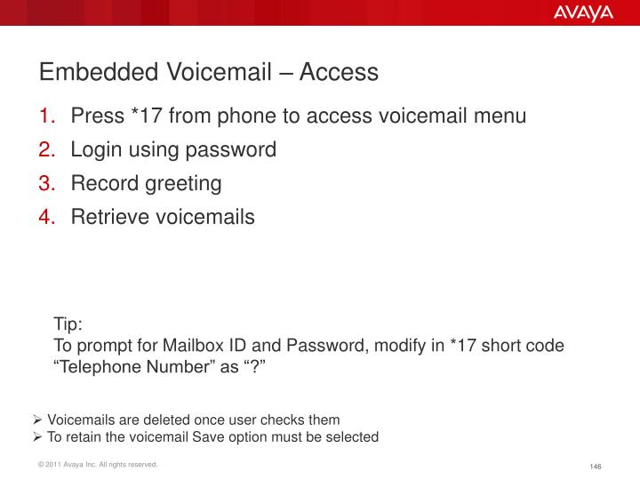 Embedded Voicemail – Access