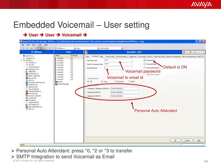 Embedded Voicemail – User setting