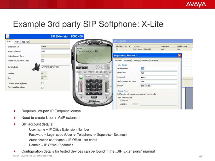 Example 3rd party SIP Softphone: X-Lite