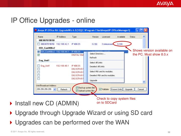 IP Office Upgrades - online