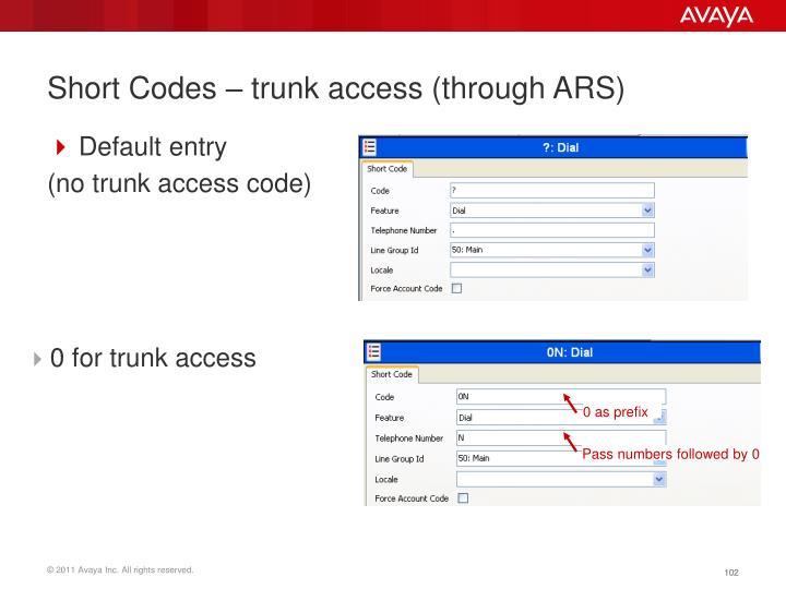 Short Codes – trunk access (through ARS)