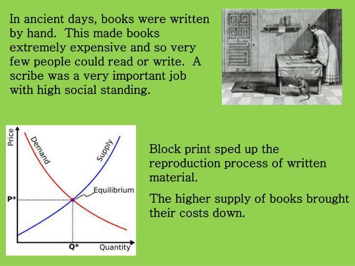 In ancient days, books were written