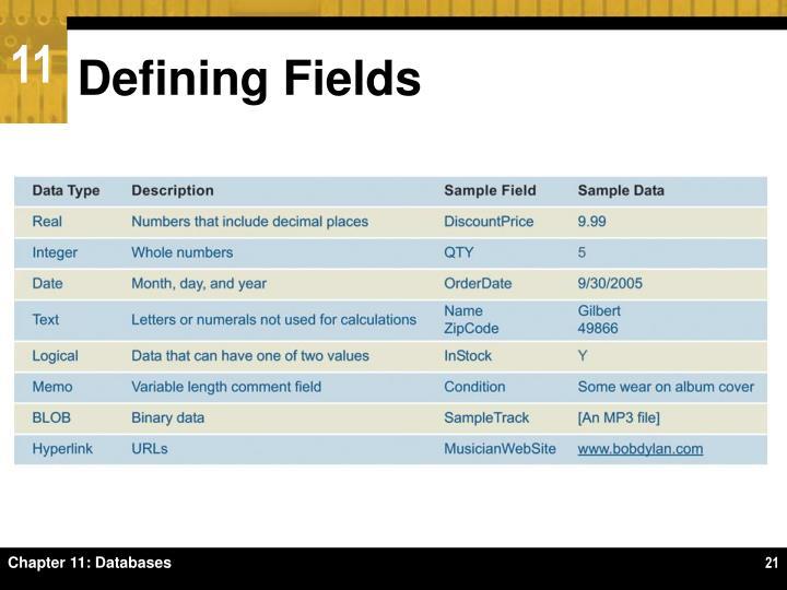 Defining Fields