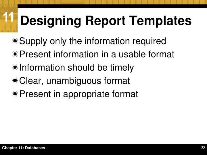 Designing Report Templates