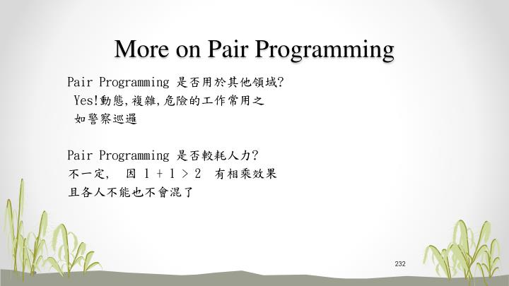 More on Pair Programming