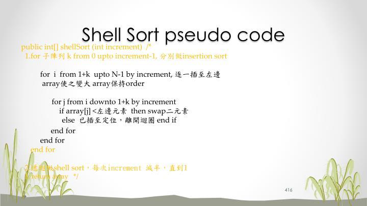 Shell Sort pseudo code