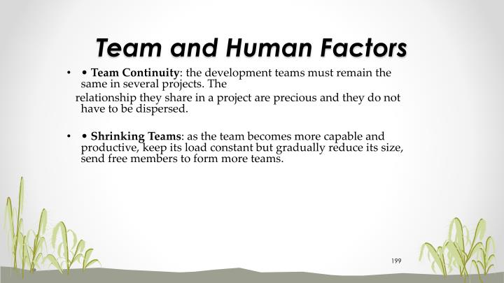 Team and Human Factors