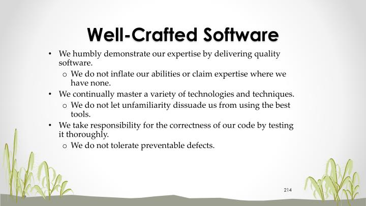 Well-Crafted Software