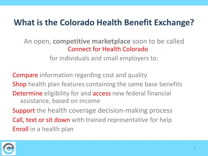 What is the Colorado Health Benefit Exchange?