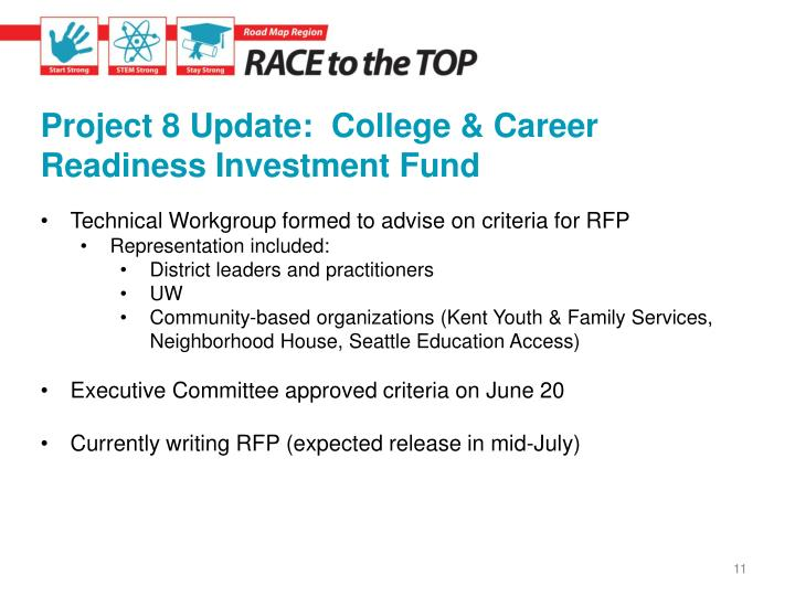 Project 8 Update:  College & Career Readiness Investment Fund