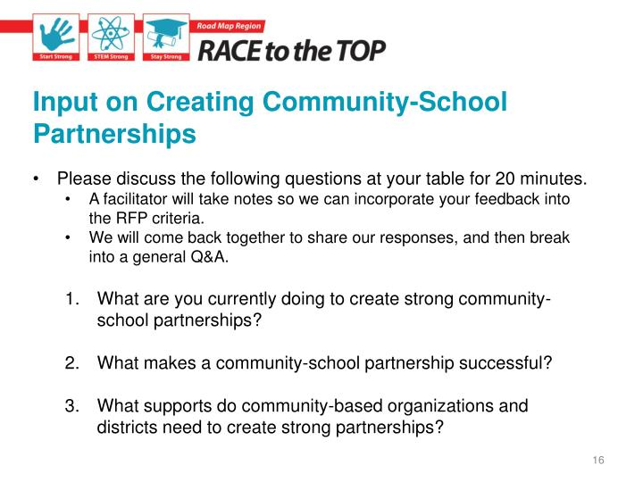 Input on Creating Community-School Partnerships