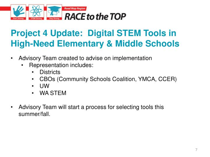 Project 4 Update:  Digital STEM Tools in High-Need Elementary & Middle Schools