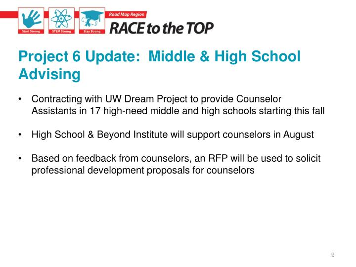 Project 6 Update:  Middle & High School Advising
