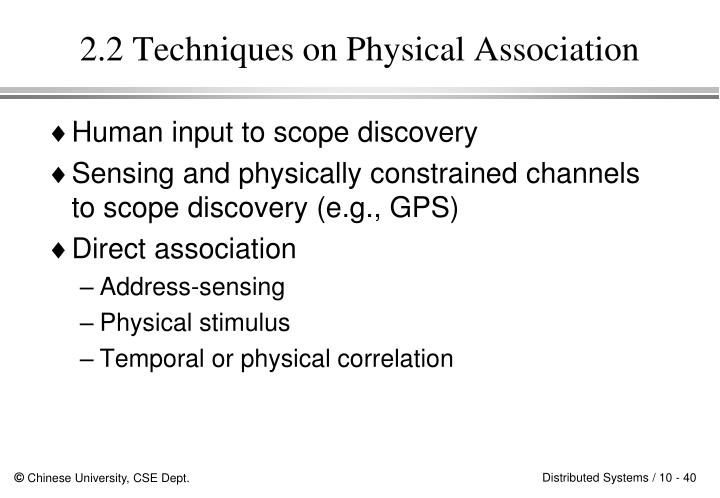 2.2 Techniques on Physical Association